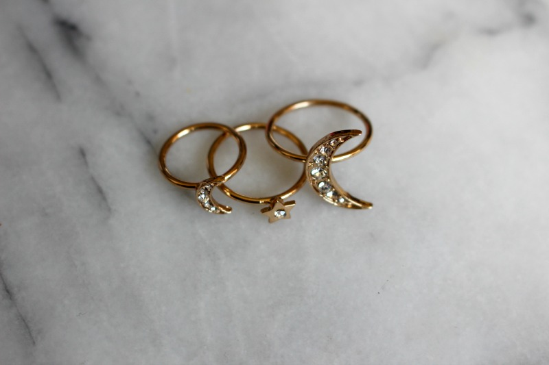 Topshop Moon and Star Ring Set