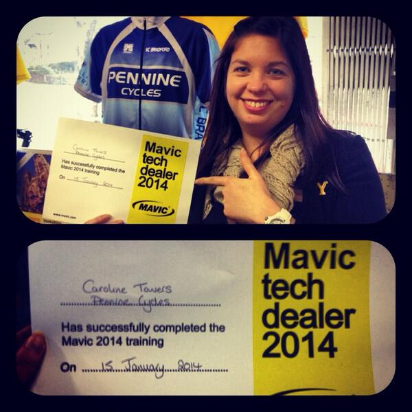 Caroline Towers with Mavic Certificate